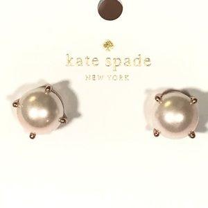 kate spade rose gold pearl stud earrings